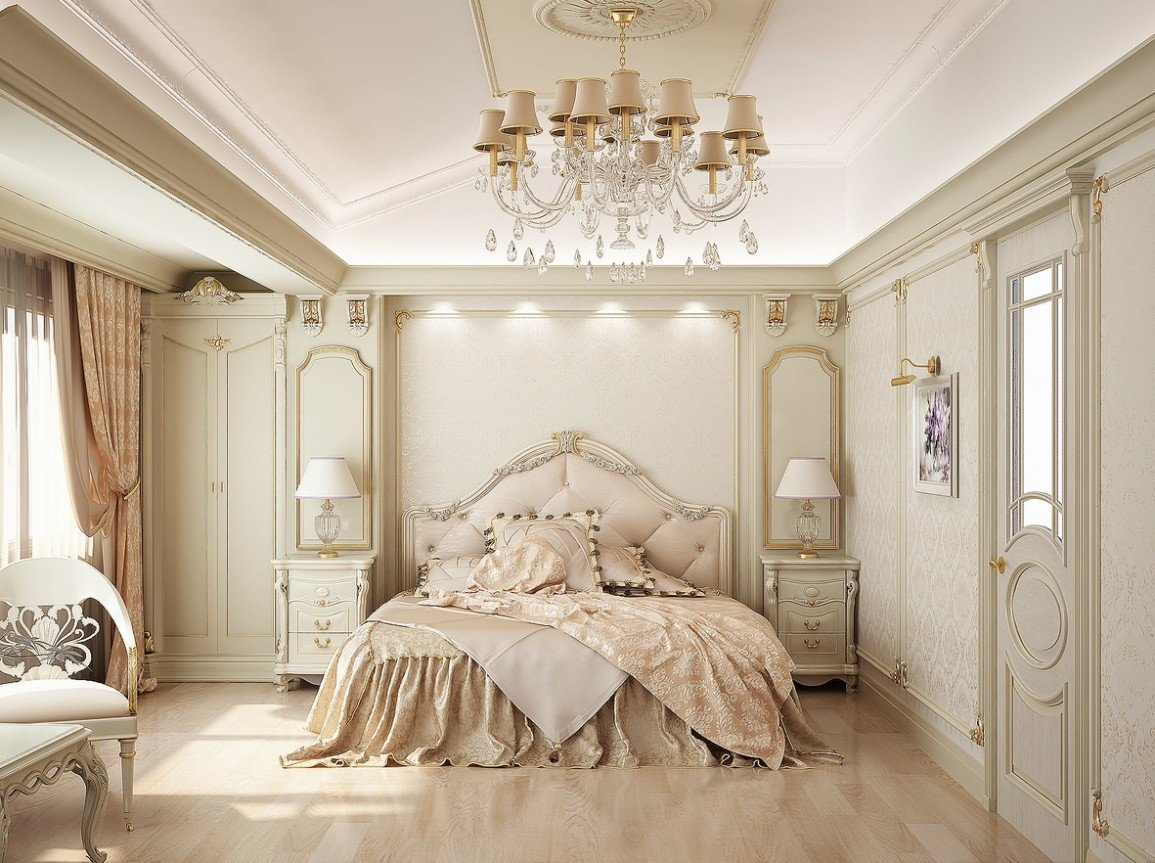 Высокие потолки и пастельные тона освобождают место для роскошной мебели