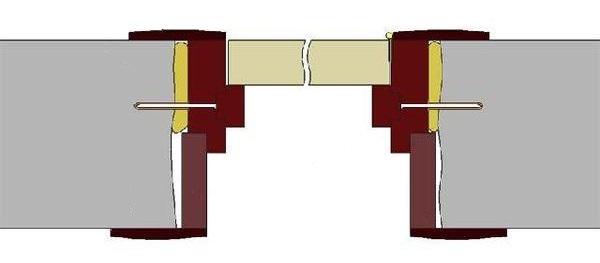 Показано как расширитель дверного короба закрывает стену