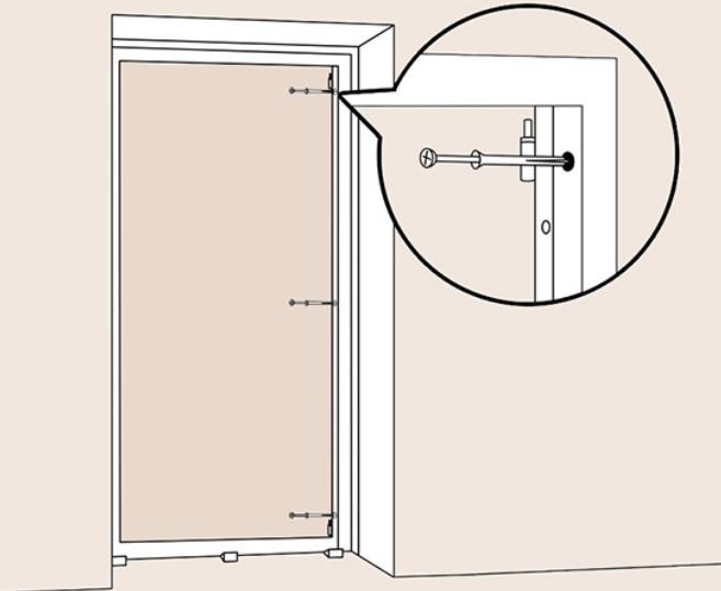 Закрепляем анкерами двери