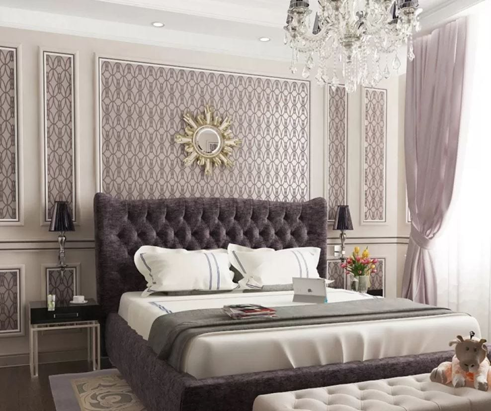 Спальня олицетворяет изящество и роскошь