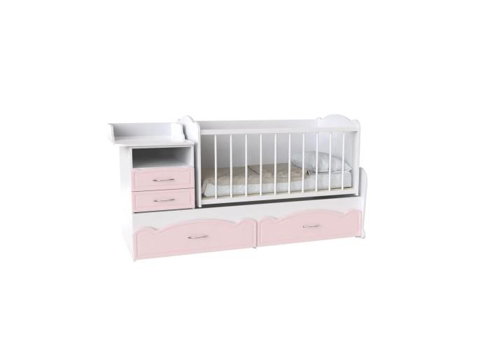 Кровать детская - Трансформер 3в1 Binky ДС043 Аляска / Розовый (решётка Белая)  1