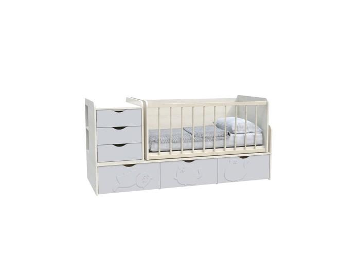 Кровать детская - Трансформер 3в1 Binky ДС504A Дуб шамони светлый / Пепельный софттач  1