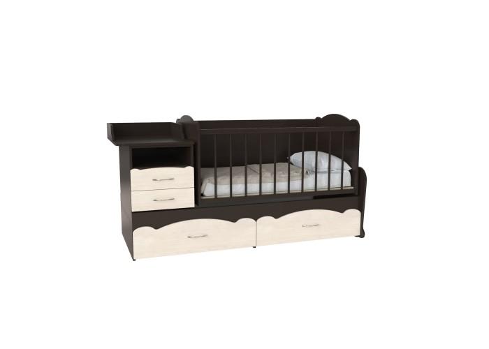 Кровать детская - Трансформер 3в1 Binky ДС043 Венге / Дуб шамони светлый (решётка венге)  1