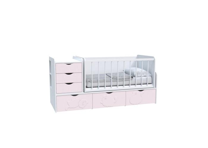 Кровать детская - Трансформер 3в1 Binky ДС504A Аляска / Розовый (решётка Белая)  1