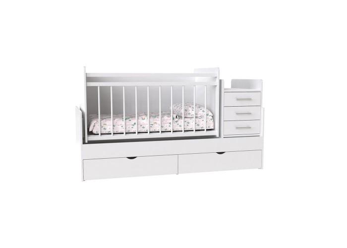 Кровать детская - Трансформер 3в1 Binky ДС039 Аляска / Аляска (белая решётка)  1