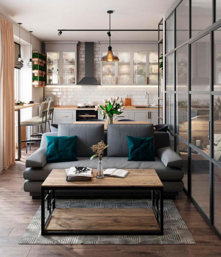 Дизайн гостиной-студии в стиле минимализм