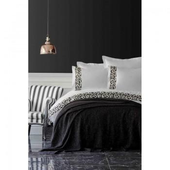Комплект постельного белья с пледом Karaca Home - Blaze siyah 2019-1 черный евро