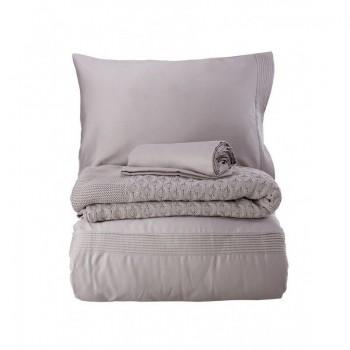 Комплект постельного белья с пледом Karaca Home - Brezza lila 2018-2 лиловый евро