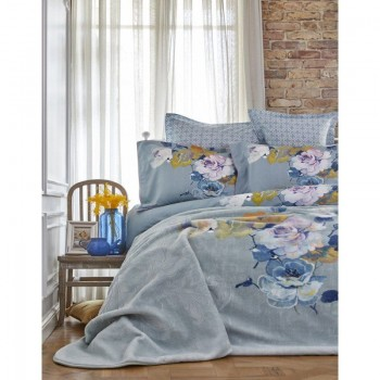 Комплект постельного белья с пледом Karaca Home - Lenusy yesil 2018-1 зеленый евро