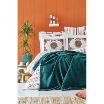 Комплект постельного белья с пледом Karaca Home - Mosi Zumrud 2019-1 евро