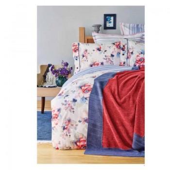 Комплект постельного белья с пледом Karaca Home - Calvia mavi 2018-1 голубой евро