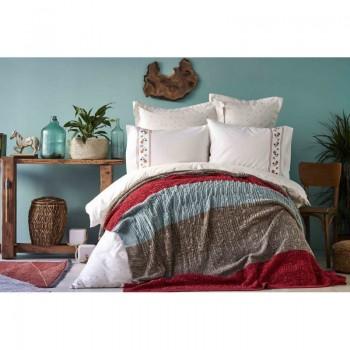 Комплект постельного белья с пледом Karaca Home - Lienzo bordo 2019-1 бордовый евро