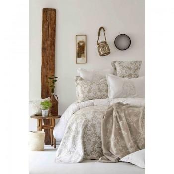 Комплект постельного белья с покрывалом + плед Karaca Home - Onofre bej 2019-1 бежевый евро