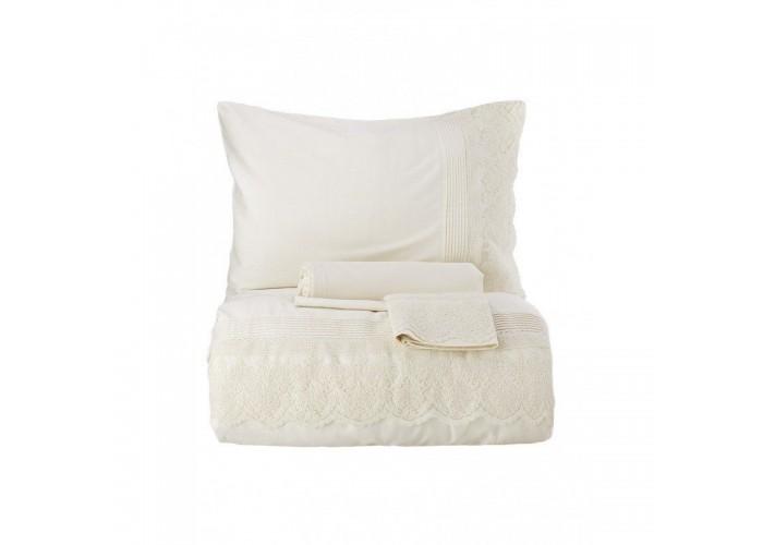 Комплект постельного белья Karaca Home Privat - Calina ekru 2018-2 молочный евро  1