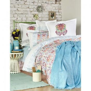 Комплект постельного белья с пледом Karaca Home - Diandra turkuaz 2018-2 бирюзовый евро