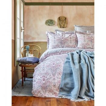Комплект постельного белья с пледом Karaca Home - Luminda pembe 2018-1 розовый евро