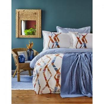Комплект постельного белья с пледом Karaca Home - Shaggy mavi 2018-1 синий евро
