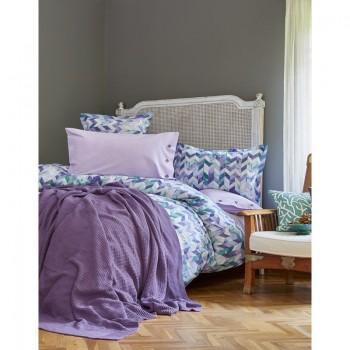 Комплект постельного белья с пледом Karaca Home - Melange mor 2018-1 сиреневый евро