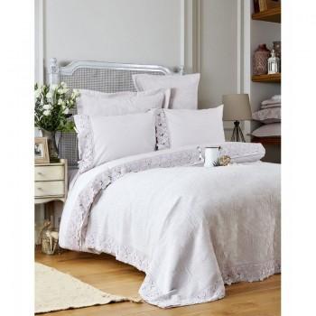 Комплект постельного белья с покрывалом Karaca Home - Liza lila 2017-2 лиловый евро