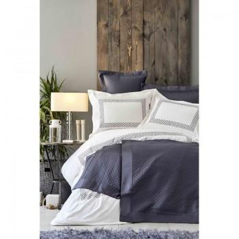 Комплект постельного белья с покрывалом Karaca Home - Sophia gri 2019-1 серый евро