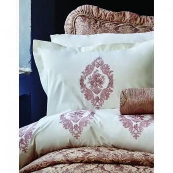 Комплект постельного белья Karaca Home - Astoria rose 2017-1 розовый перкаль с вышивкой евро
