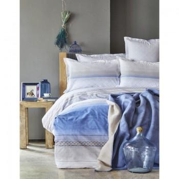 Комплект постельного белья с пледом Karaca Home - Lapis indigo 2018-1 синий евро