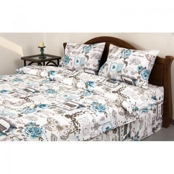 Комплект постельного белья Lotus Ranforce - Glory бирюзовый евро