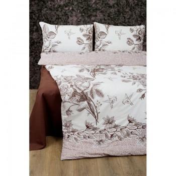Комплект постельного белья Lotus Premium - Grace кофе евро