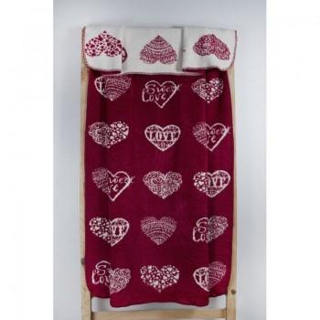 Плед Lotus Mono - Sweet Love красный 135*175