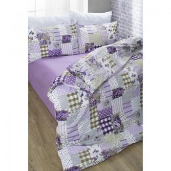 Комплект постельного белья Lotus Premium - Patchwork лиловый евро