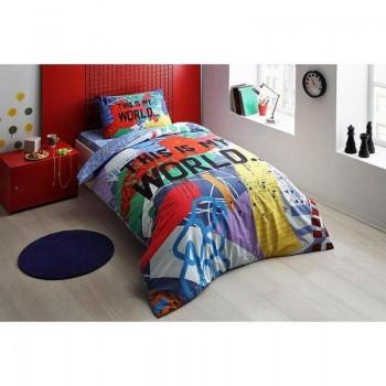 Подростковое постельное белье Tac Ranforce Teen Graffiti - My World mavi голубой