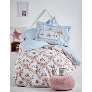 Подростковое постельное белье Karaca Home - Paise 2017-1 blue ранфорс