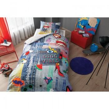 Подростковое постельное белье Tac Ranforce Teen - Good Vibes синий