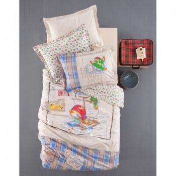 Подростковое постельное белье Karaca Home - Matey голубое ранфорс