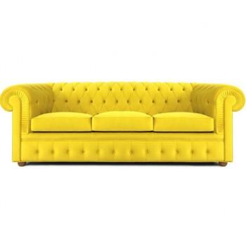 Трехместная софа Честрерфилд-3 (Ткань, желтый)