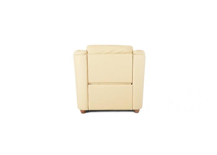 Кресло Бавария цвета айвори в коже с реклайнером  12