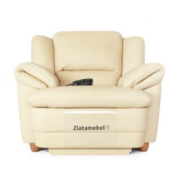 Кресло Бавария цвета айвори в коже с реклайнером