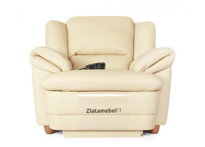 Кресло Бавария цвета айвори в коже с реклайнером  1