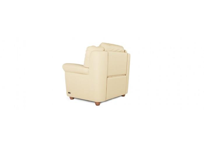 Кресло Бавария цвета айвори в коже с реклайнером  13