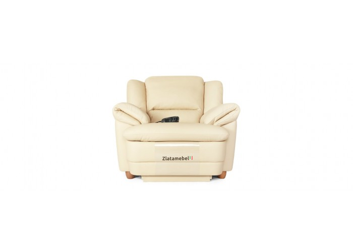 Кресло Бавария цвета айвори в коже с реклайнером  4