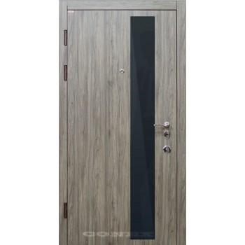 Двери входные – Conex – Модель 52 черное стекло, внутри зеркало