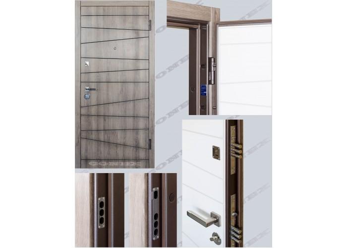 Двери входные – Conex – Модель 74 Дуб орион, внутри Супермат белый  2