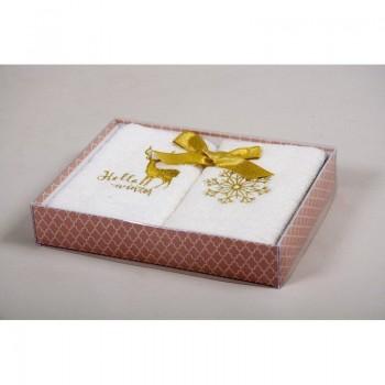 Новогодний набор кухонных полотенец Barine - Winter Gold золотой 30*50