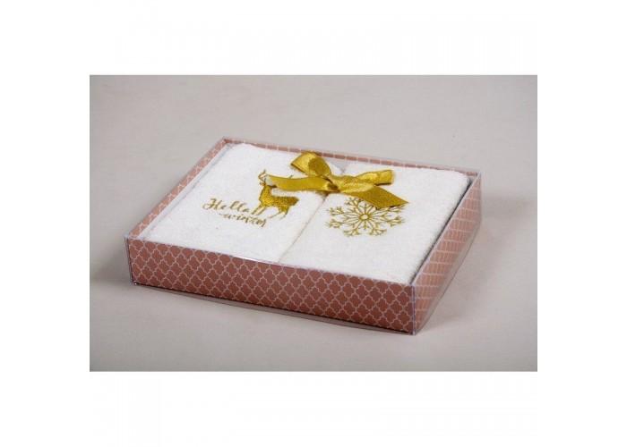 Новогодний набор кухонных полотенец Barine - Winter Gold золотой 30*50  1