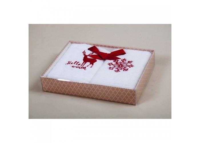 Новогодний набор кухонных полотенец Barine - Winter Red красный 30*50  1