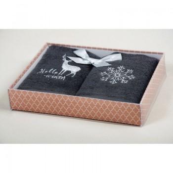 Новогодний набор кухонных полотенец Barine - Winter Silver серый 30*50