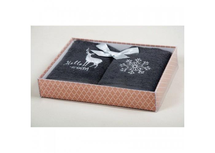 Новогодний набор кухонных полотенец Barine - Winter Silver серый 30*50  1