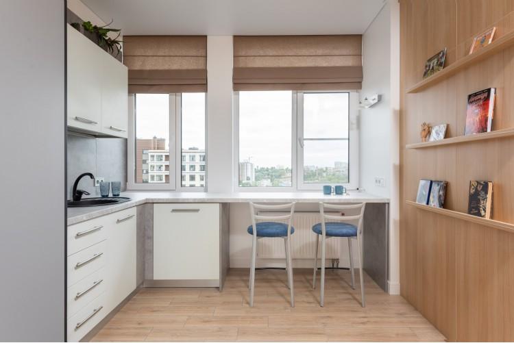 Кухня в дизайн-проекте  смарт- квартиры ЖК PARKLAND, 43 м.кв. — дизайнер Ирина Сазонова
