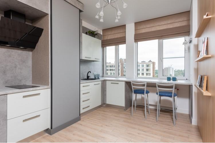 Кухня в дизайн-проекте  смарт- квартиры ЖК PARKLAND, 43 м.кв., — дизайнер Ирина Сазонова