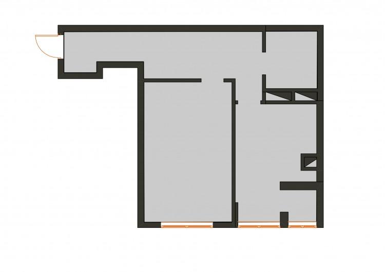 План исходный в дизайн-проекте  смарт- квартиры ЖК PARKLAND, 43 м.кв., — дизайнер Ирина Сазонова